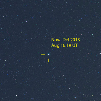 Nova Delphini 2013 on morning of Aug 16th