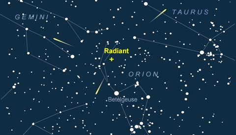 Radiant of the November Orionid meteor shower