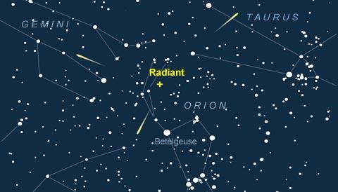 Radiant of the November Orionid meteor shower