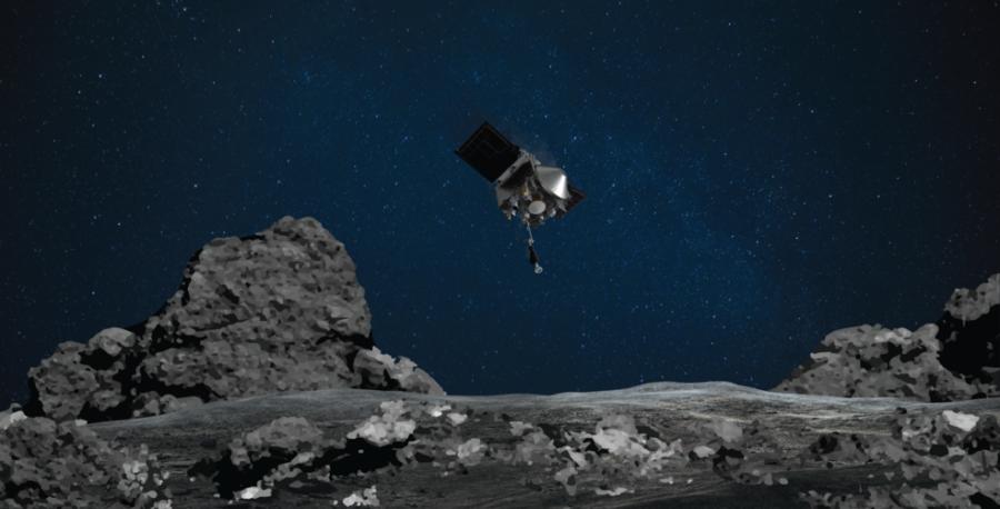 Artist's concept of Osiris-REX approaching asteroid Bennu