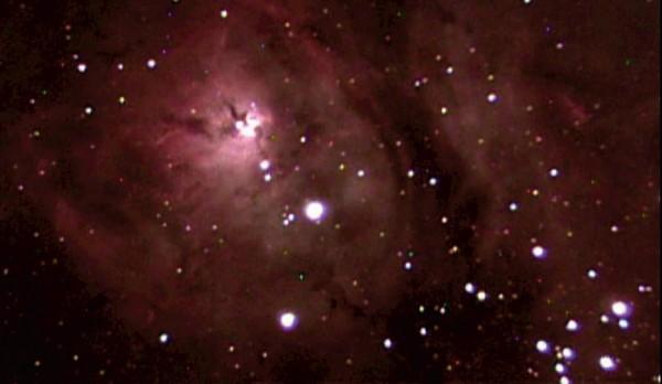 Lagoon Nebula, imaged with astrovideo camera