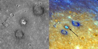 Images of Sander, a 47-km-diameter crater, obtained by Messenger during its first flyby.