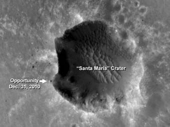 Opportunity next to Santa Maria crater