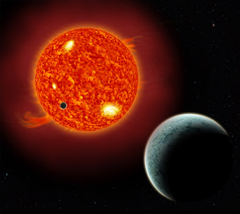 An artist's rendition of a planet transiting in front of a star. The more distant planet has not yet been detected, but most stars with low-mass planets have additional planets.
