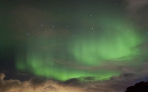 An Orionid meteor shoots through the aurora our group witnessed on the night of October 20th.