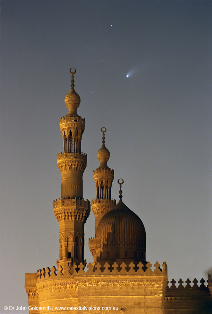 Serene Comet Hale-Bopp, the minaret towers of Sultan Hussan Mosque