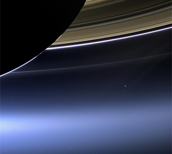 Earth beneath Saturn's rings