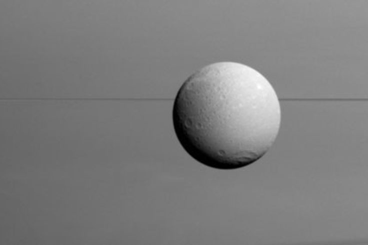 Dione in front of Saturn