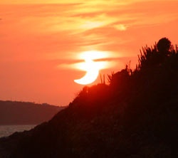 Partial eclipse at sunset