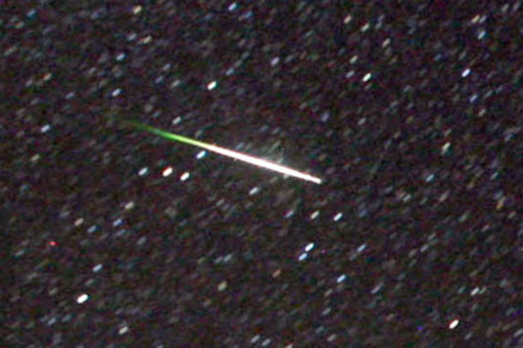 Colorful Perseid fireball