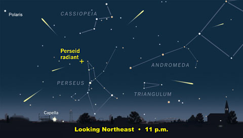 The radiant of the Perseid Meteor Shower is high in the sky by 11 p.m. for observers at mid-northern latitudes.