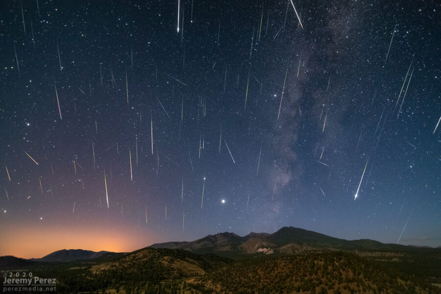 Perseid shower composite 2020 shown over mountains