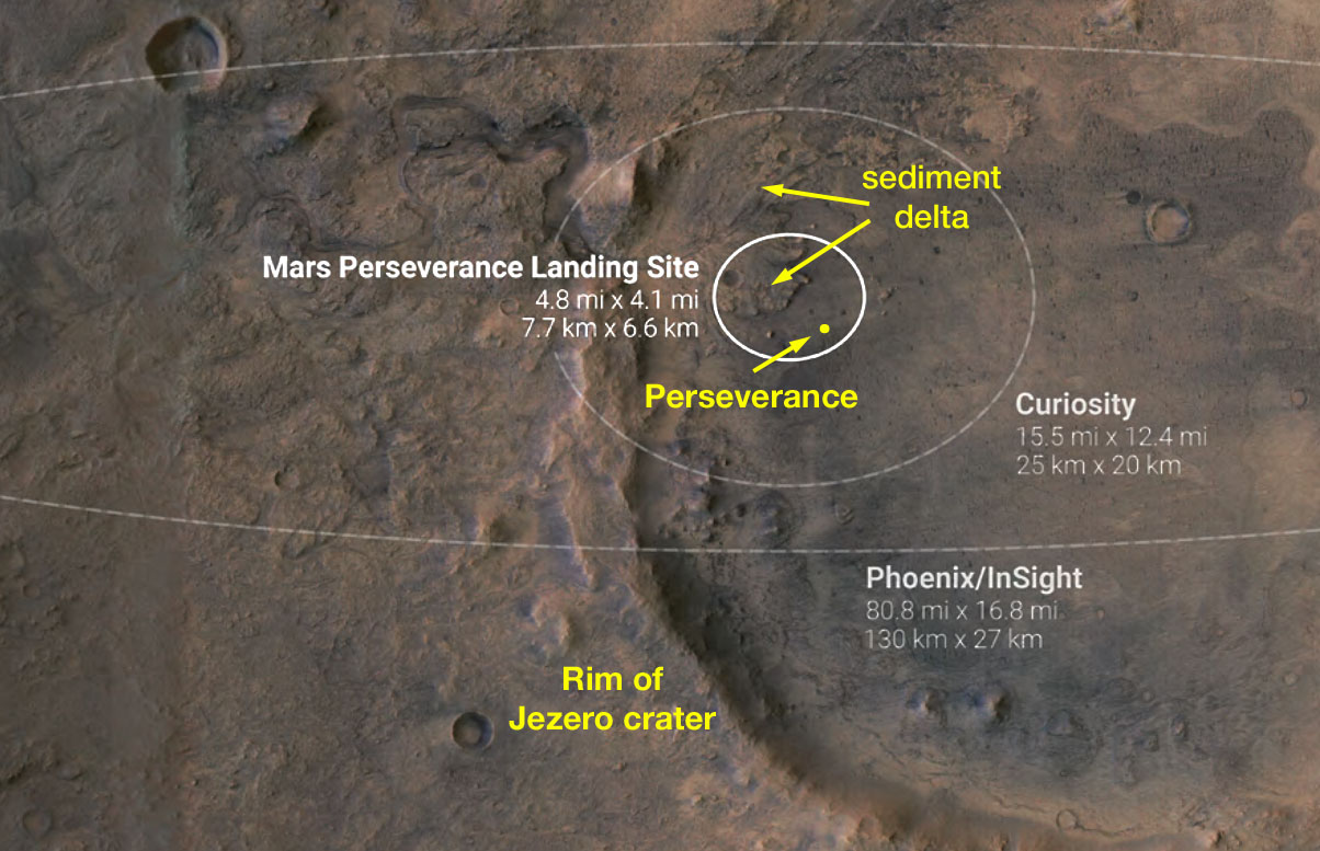 Perseverance landing site map