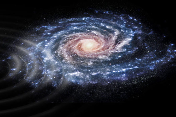 Artist's impression of galactic encounter's aftereffects