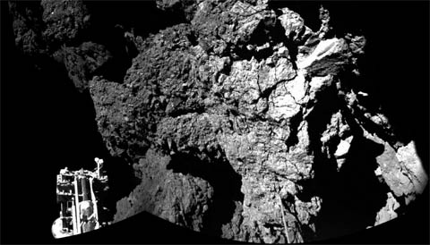 Philae's first view from comet's surface