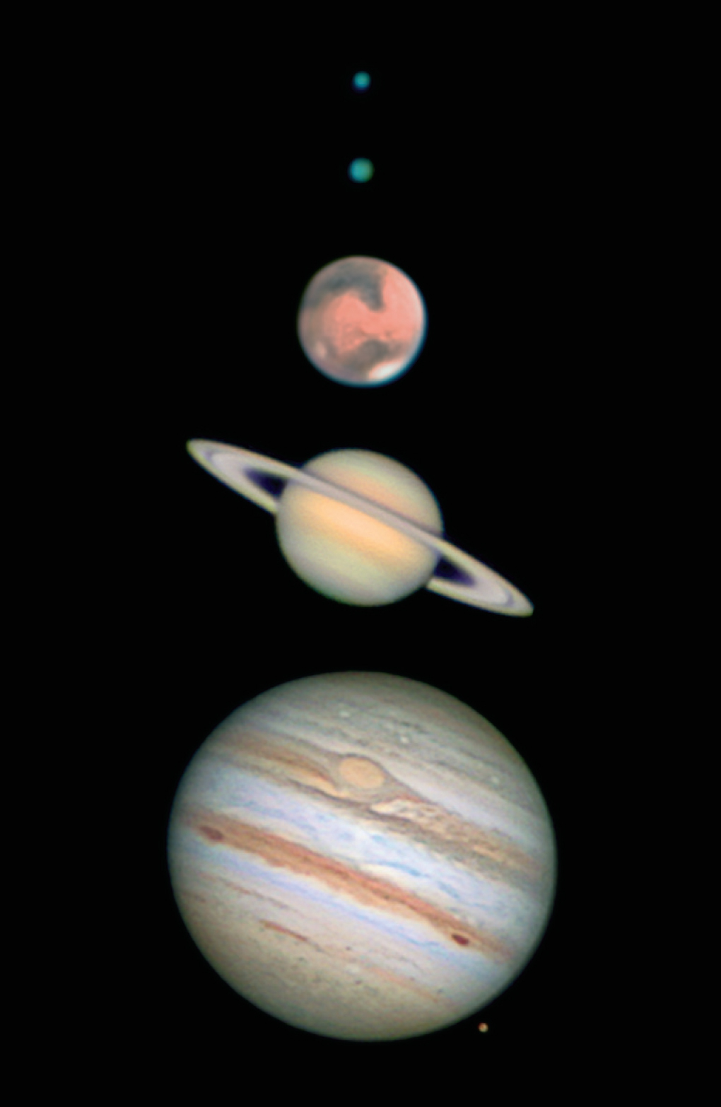 Solar system planets in a DSLR using planetary imaging techniques.