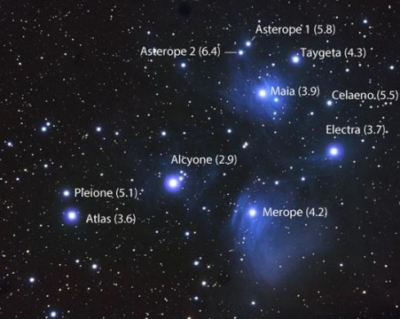 To find the 7 Pleiades, we work from 5