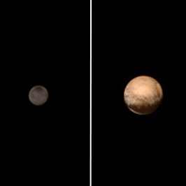 Pluto-Charon in color on July 8, 2015