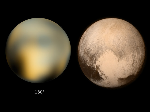 Pluto seen by Hubble and New Horizons