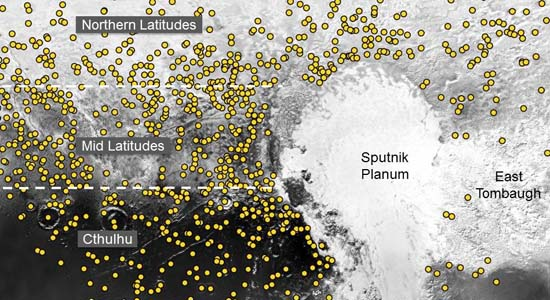 Pluto crater map