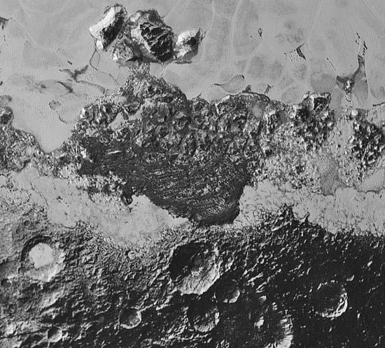 Dark areas on Pluto