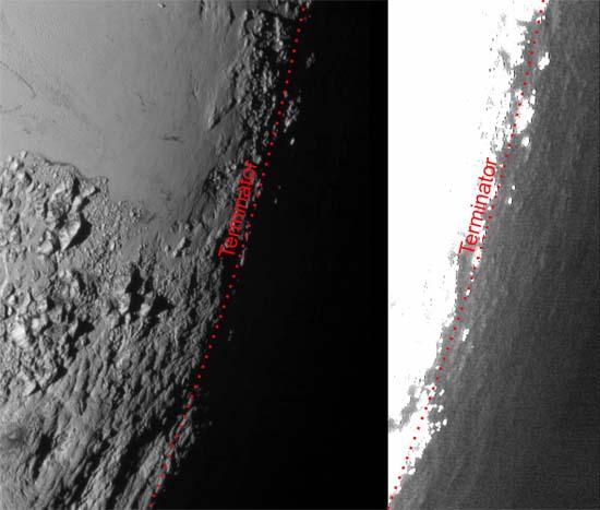 Pluto's limb in twilight