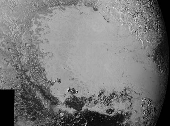 Detailed surface features on Pluto