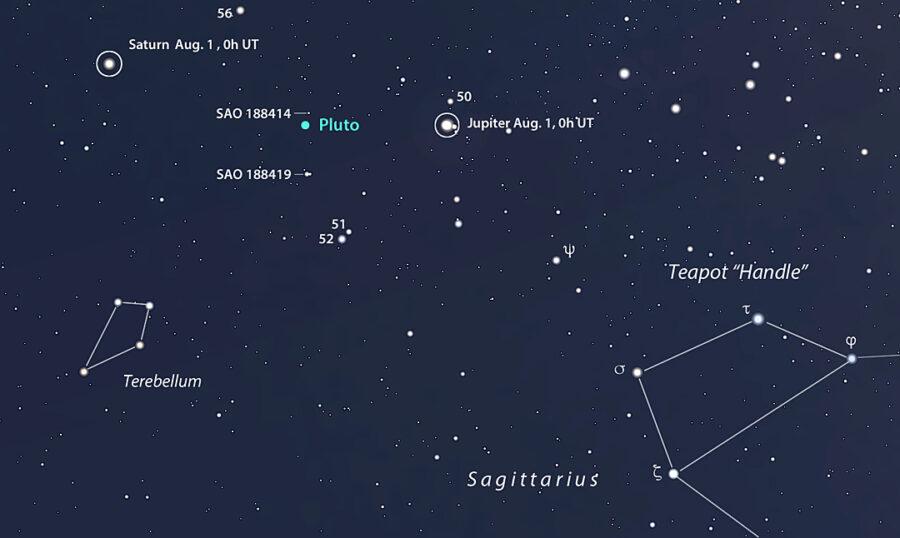 Stellarium chart of Pluto