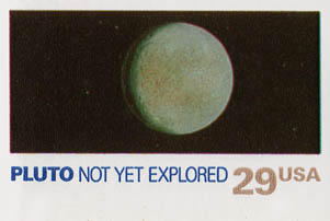 """Pluto Not Yet Explored"" stamp"