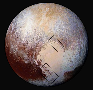 Pluto in false color