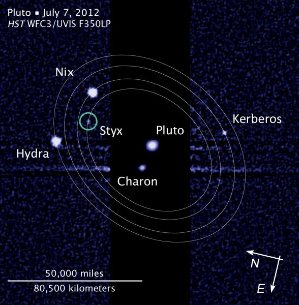 Moons of Pluto, imaged by Hubble