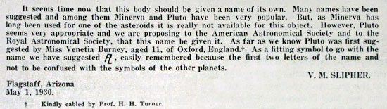 """Pluto"" proposed in 1930"