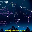 Find the Teapot of Sagittarius and and the Tail of Scorpius low in the south after it gets dark during August.
