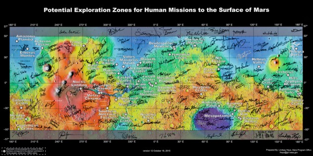 potential landing sites on Mars