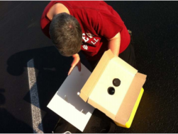 Testing a solar projection apparatus.