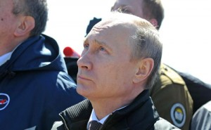 Russian president Vladimir Putin watches the the launch of the Soyuz-2.1a carrier rocket from the Vostochny Space Launch Center.http://en.kremlin.ru/