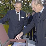 On November 17, 2005, Prince Philip (right), the Duke of Edinburgh, and Roy Clare, director of the National Maritime Museum (NMM), sealed a time capsule marking the end of the fundraising drive for the Royal Observatory Greenwich. The capsule will go on display at the observatory's new planetarium, which should be finished in 2007. Its contents, which include a handheld GPS receiver donated by Clare, may seem dated indeed when it is opened in 2105.