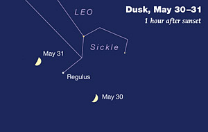 Regulus and late-May Moon