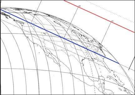 "Map showing the path of the edge of Rhea's shadow as it sweeps across  the U.S. and parts of Canada during the occultation. Only the eastern third of the country, where it will be late twilight, will witness the event. ""39"" and ""38"" refer to the time - 8:38, 8:39 EDT - and vary slightly according to location. Click for full map. Map courtesy Steve Preston"