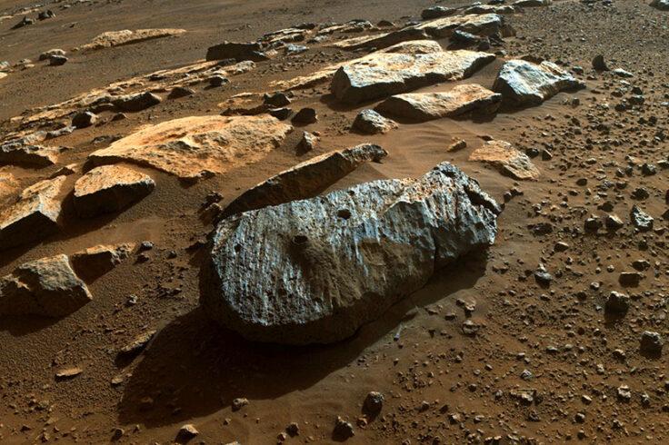 Multiple holes in the Rochette rock on Mars