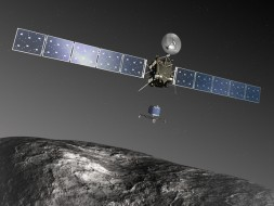 Artist's rendering of the Rosetta spacecraft and its Philae lander.  ESA–C. Carreau/ATG medialab