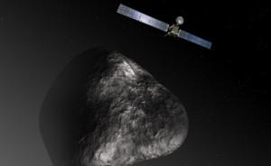 Artist's impression of  Rosetta comet 67P/Churyumov–Gerasimenko (not to scale).