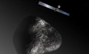 Artist's impression of  Rosetta comet 67P/Churyumov–Gerasimenko (not to scale).