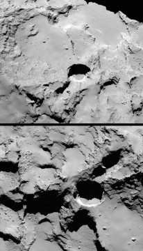 sinkhole on comet