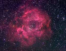 Rosette Nebula is east of Orion in the stellar wilderness known as Monoceros.