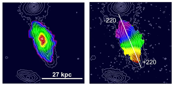 One of the six galaxies that Genzel and colleagues studied. The left frame shows a false-color representation of the galaxy's hydrogen. The right frame shows the shift of the hydrogen alpha line, which the <a  href=