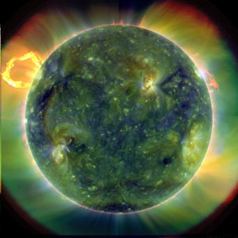 Full-disk view of erupting Sun