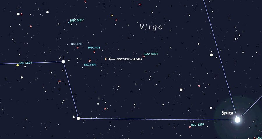 A star chart of Virgo that shows the location of Arp 171