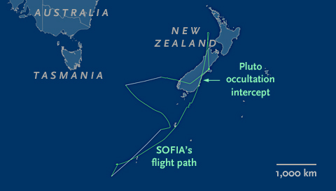 SOFIA's flight path on June 29, 2015