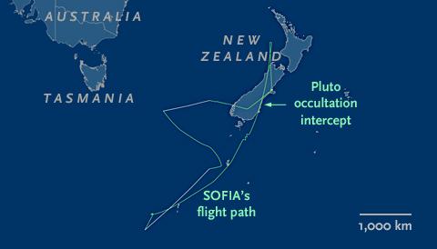 SOFIA's flight path on June 29, 2015